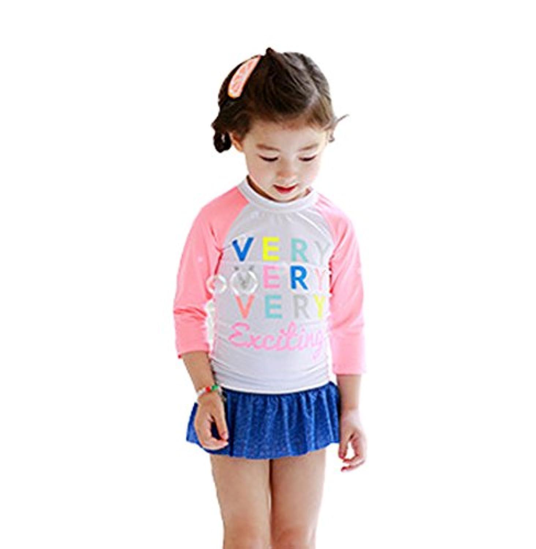 (ホーマイ)HOOMAI 水着 子供 キッズ ラッシュガード スカートパンツ UVカット デニムキュロット 長袖 80-130cm 切り替え アルファベット 上下2点セット