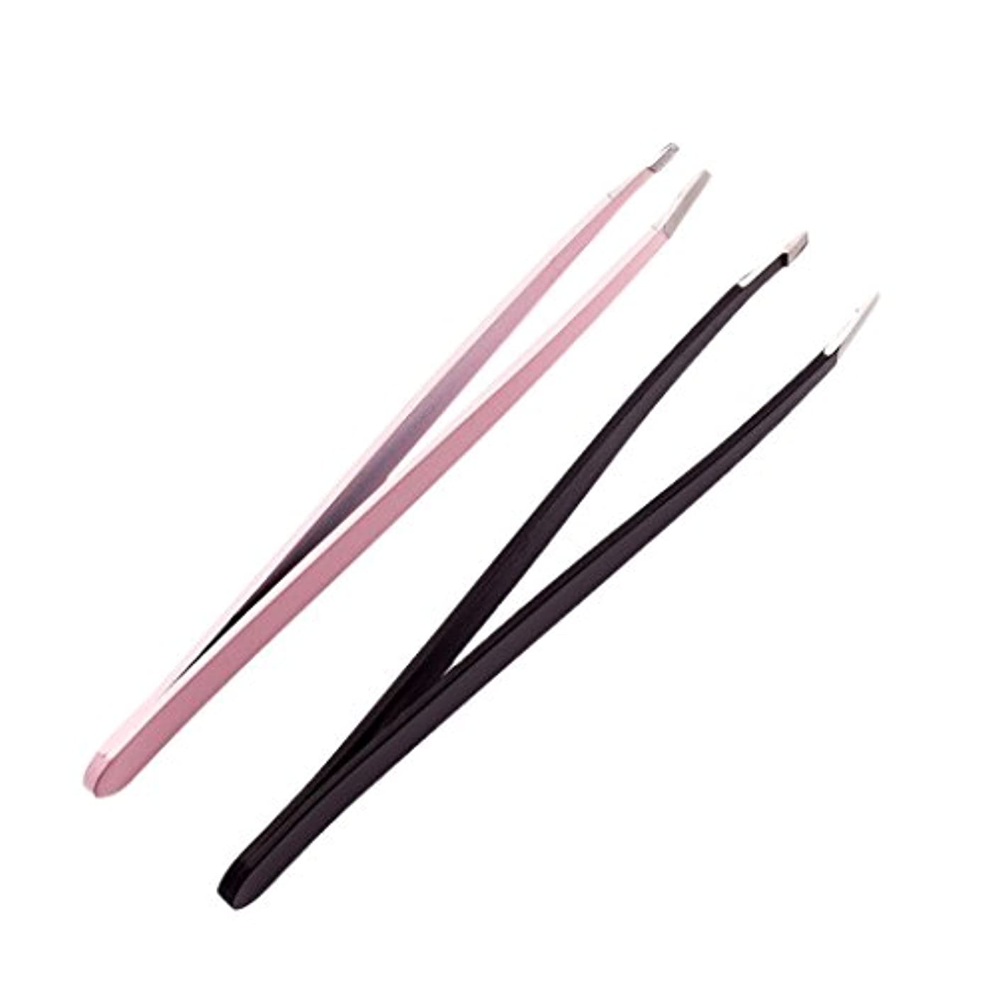 肥料まともな廃棄2個のプロフェッショナルな眉毛のピンセットは、ステンレス製の髪のリムーバーのツールセットを傾けた