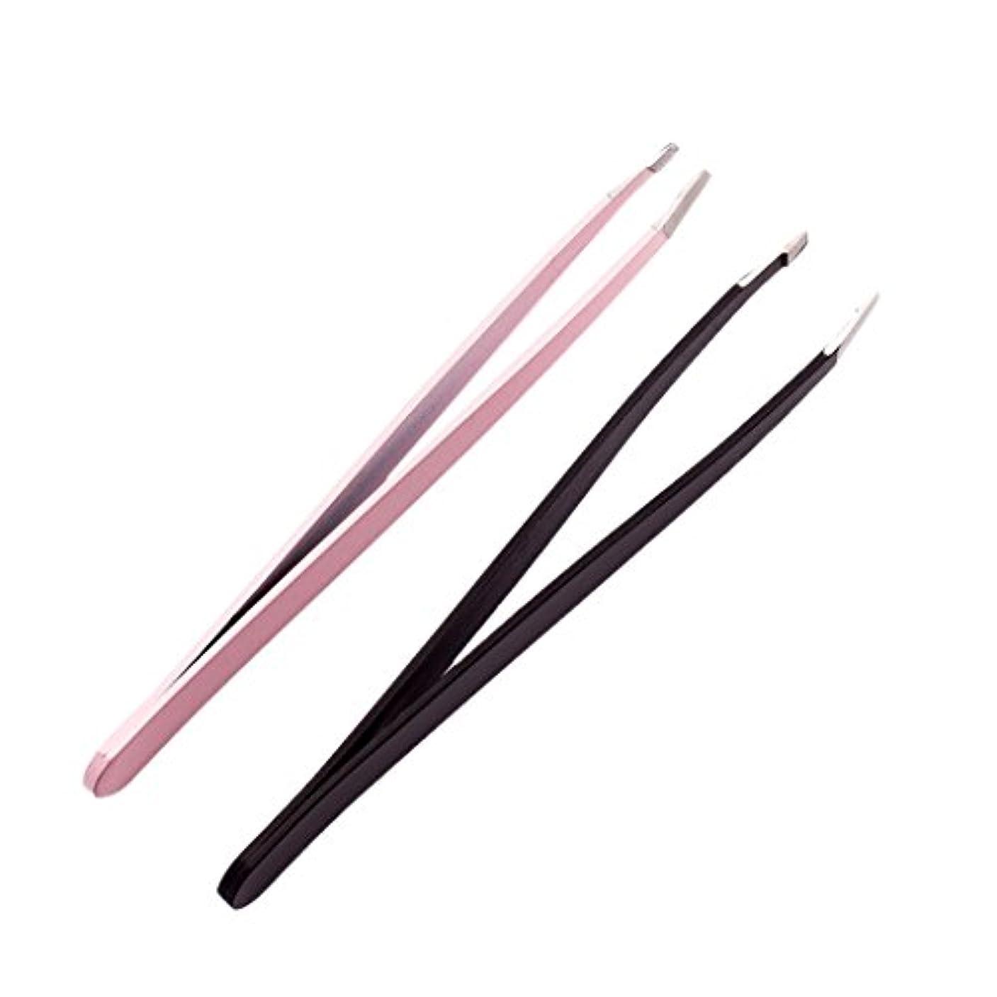 海嶺の量文明2個のプロフェッショナルな眉毛のピンセットは、ステンレス製の髪のリムーバーのツールセットを傾けた