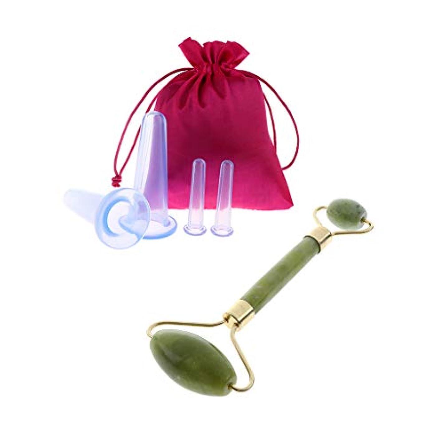 告白する暴露悲観的4本 シリコーン 抗セルライト 収納袋付き ジェイドストーン マッサージローラー 小型美顔器