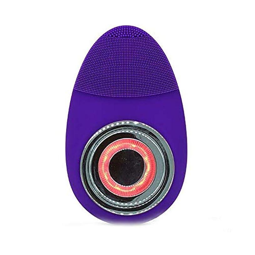 顎ジェスチャー武器電子美容機器赤光クレンジング楽器防水シリコーン超音波洗浄顔色若返りマッサージ器,Blue