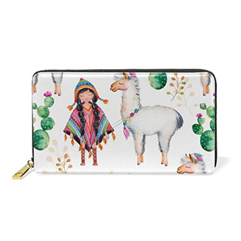 財布 レディース 長財布 大容量 かわいい 羊柄 少女 サボテン 可愛い 幾何学模様 ファスナー財布 ウォレット 薄型 本革 型押し 小銭入れ プレゼント用