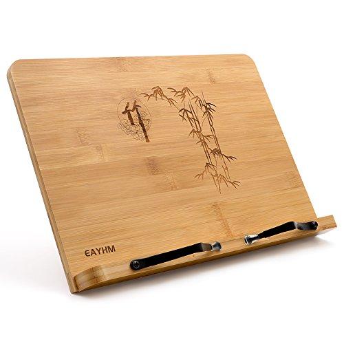 EAYHM ブックスタンド 折りたたみ 書見台 本立て 竹製book stand 卓上筆記台 5段階角度調整 肩こり消し&近視防止 譜面台