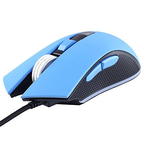 剣聖一族 ゲーミングマウス 光学式ゲームマウス DPI3200 LEDマウス ゲーミング USB有線式マウス (ゴムオイル ブルー)
