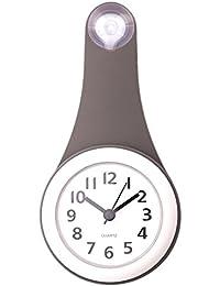 防水壁掛け時計 YIFAN 家庭用 浴室用 シャワークロック お風呂 キッチン ウォータープルーフ掛け時計-灰色 11 * 21.6 * 4cm