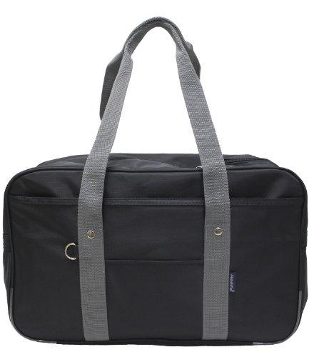 多機能内ポケット大型スクールバッグ(ボストンバッグ)1126ブラックグレー