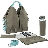 Lassig Glam Global Style Diaper Shoulder Bag Handbag Tote-Bag includes Matching Insulated Bottle Holder, wipeable Changing Mat, Stroller Hooks,Light Grey by Lassig