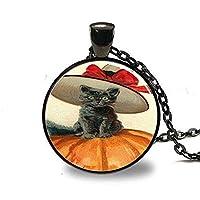ヴィンテージハロウィーンネックレス、黒猫ネックレス、カボチャ、ビクトリア朝のハロウィーン、ガラスアートネックレス、ハロウィンジュエリー、ハロウィーンチャーム