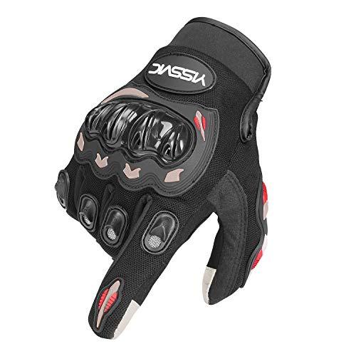YISSVIC バイクグローブ 自転車グローブ オートバイグローブ モーターバイク用手袋 保護 耐磨耗 換気性 スマートフォン対応 滑り止め付き Lサイズ レーシング用 競技用品 四季用 (24ヶ月保証) (L)