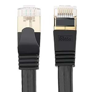 LANケーブル Postta LANケーブル CAT7準拠 ギガビット10Gbps/600MHz カテゴリー7 イーサネットケーブル SSTP/SFTP 二重シールド RJ45 LANコード フラット ブラック 1M