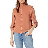 Rachel Pally Womens H19450TKR Pucker Rayon Senta Top Long Sleeve Blouse - Orange