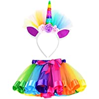 (L,4-8 Years, Rainbow) - Loveyal Little Girls Layered Rainbow Tutu Skirts with Unicorn Horn Headband