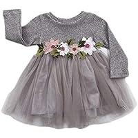 GRNSHTS Baby Girls Flower Applique Gauze Dress Set