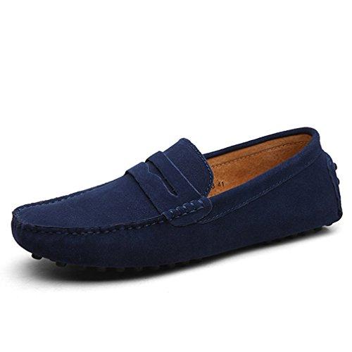 [QIFENGDIANZI] ドライビングシューズ メンズ おしゃれ ビジネス スリッポン 紳士靴 モカシン 夏 抗菌 防臭 通気性の高い コンフォート ローファーシューズ カジュアル フラットシューズ ネイビー 26.5cm