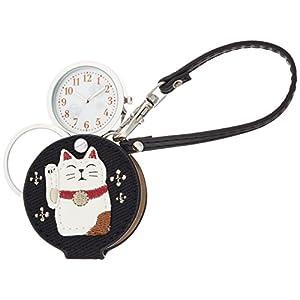 [フィールドワーク]Fieldwork 懐中時計 まねきねこ ルーペ 付き ブラック LW047-4 懐中時計
