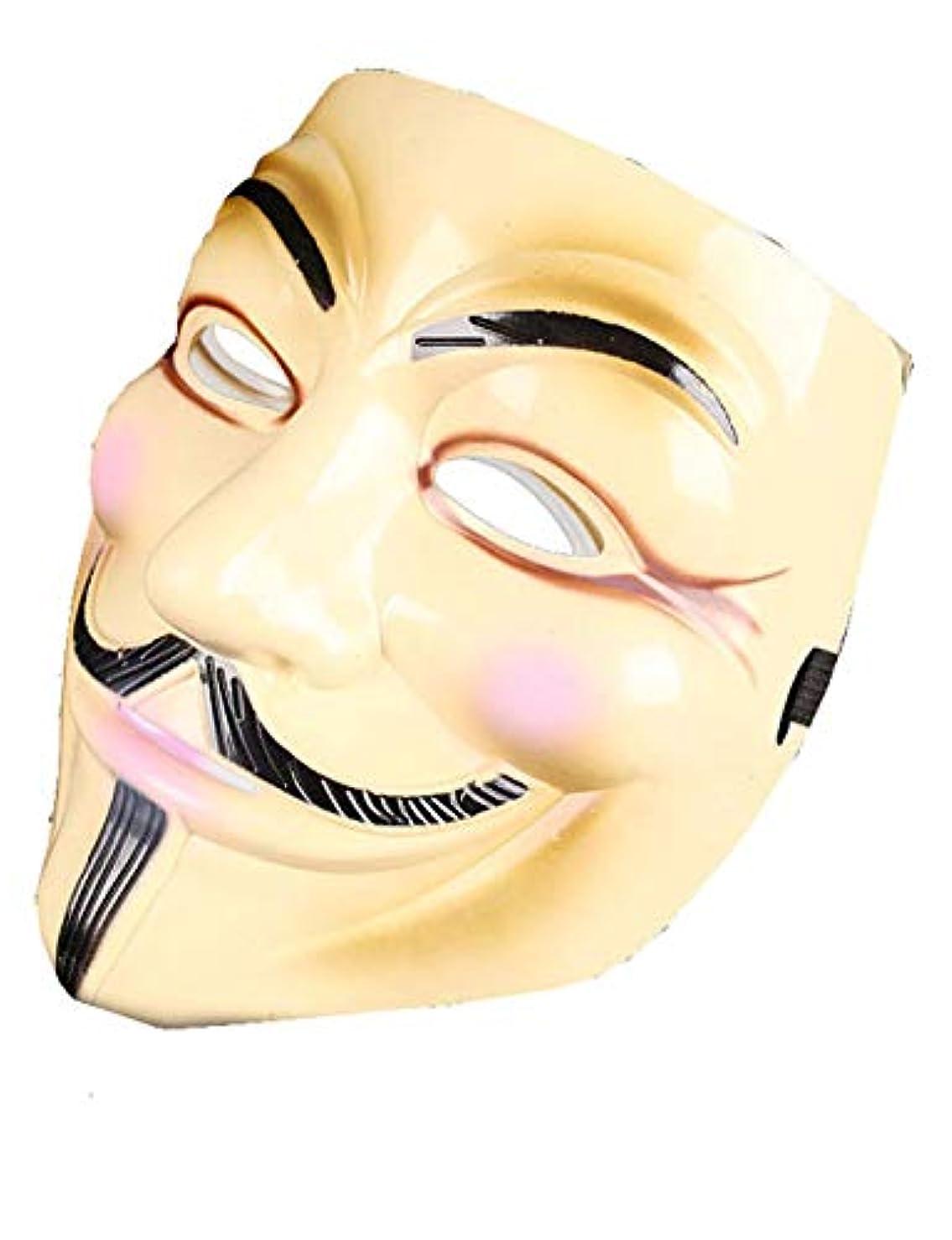入場説明累計ハロウィーンマスクホラーコスチュームパーティーコスプレの小道具、VendettaのV (Color : BRASS)