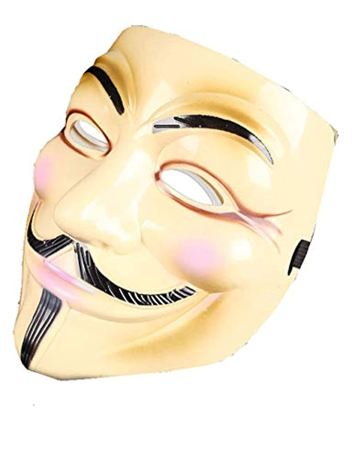 存在する象洞窟ハロウィーンマスクホラーコスチュームパーティーコスプレの小道具、VendettaのV (Color : BRASS)