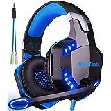 游戏耳机带麦克风 arkartech G2000PC 游戏耳机立体声电脑支架可伸缩 LED 附带 PC 开关 PS4Xbox One 支持 Mac Skype , 蓝色