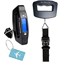 YYGJ Handheld Digital Luggage Scale with Grip for Travel Portable Electronic Weighing Suitcase and Bag 110Lb/50kg Black