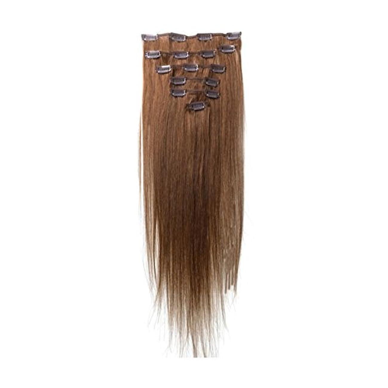 素子運命的なテキストヘアエクステンション,SODIAL(R) 女性の人間の髪 クリップインヘアエクステンション 7件 70g 15インチ ライトブラウン