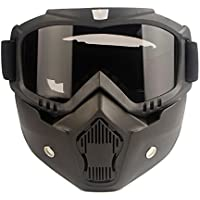 (sabsta) サバゲー フルフェイスマスク ゴーグル バイク モトクロス ツーリング BMX マスク 取り外し可能 防風 防塵 装備 (グレー)
