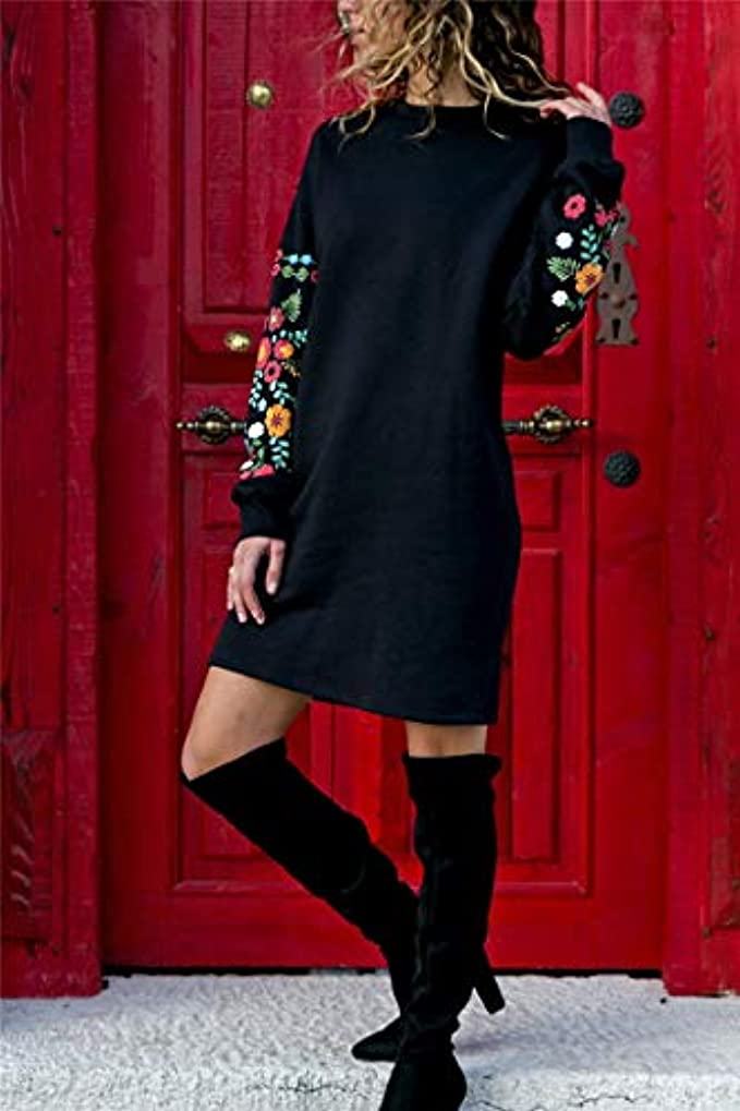 同情的一月本当にMaxcrestas - 冬の花プリントワンピースの女性のエレガントな黒のロングスリーブドレスOネックルーズ暖かいストリートドレスVestids
