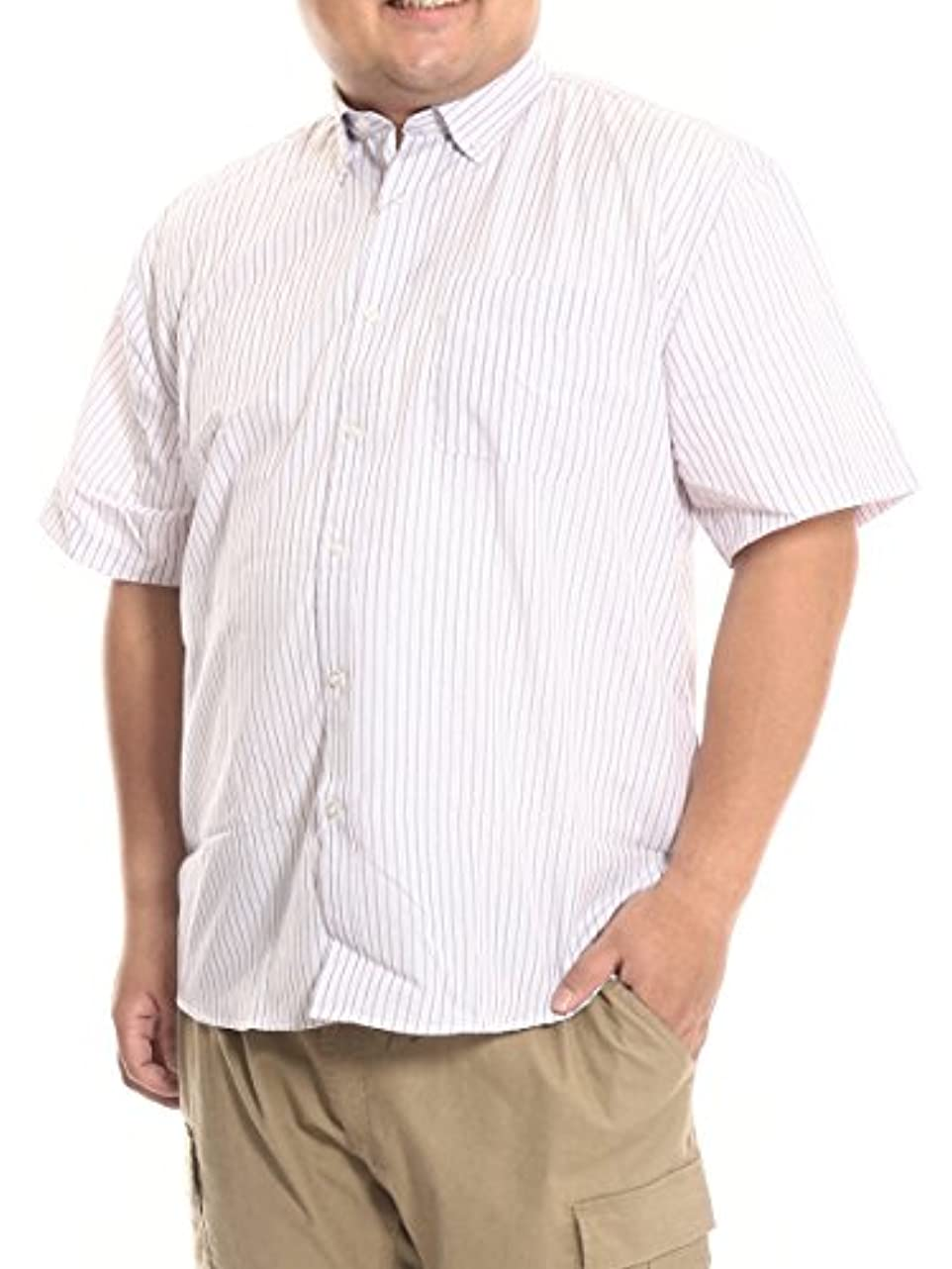 電話宿泊施設ペンス(ビーアンドティークラブ) B&T CLUB 大きいサイズ メンズ ドライ ストライプ柄 ボタンダウン 半袖 シャツ C / X1