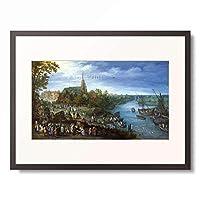 ヤン・ブリューゲル(父) Jan Brueghel de Oude 「Village by river」 額装アート作品
