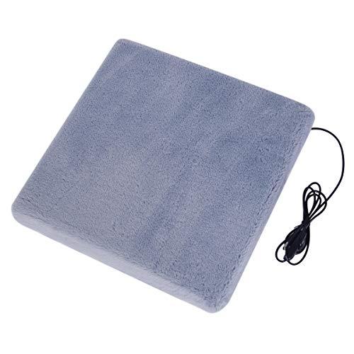 USB ホットクッション あったか 座布団 スクエア 発熱ヒーター内蔵 3段階温度調節 防寒グッズ 暖かいウサギ毛カバー 洗える 滑り止め 40*40*4CM厚み グレー
