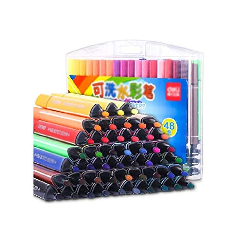 天井罪悪感バリケードQiaoxianpo001 ペイントブラシ、きれいな48色の厚い三角形のペンペイントペン、ペングリップを洗う学生の簡単な快適なペイントツール(48色、28 * 20 cm) 滑らかなストローク (Color : 48 colors, Size : 28*20cm)