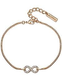 Mestige Jewellery Rose Gold Timeless Bracelet with Swarovski® Crystals, Gifts Women Girls, Bridal Infinity Bracelet