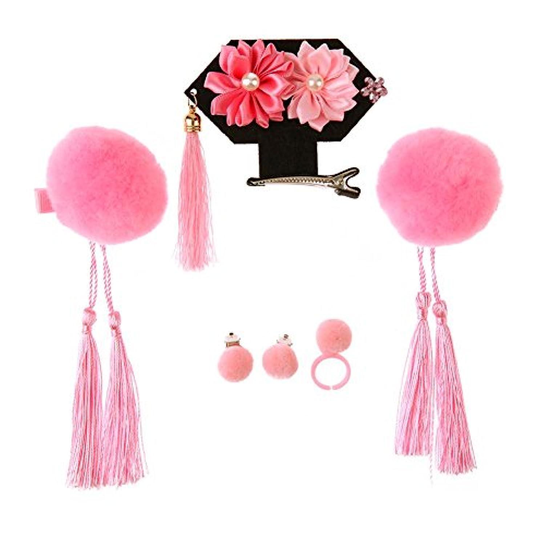 Domybest ベビーヘアバンド 子供ヘアアクセサリ 中国風 清王朝の王女ティアラ 髪飾り 女の子 髪のフープ きれい花 可愛い 記念撮影