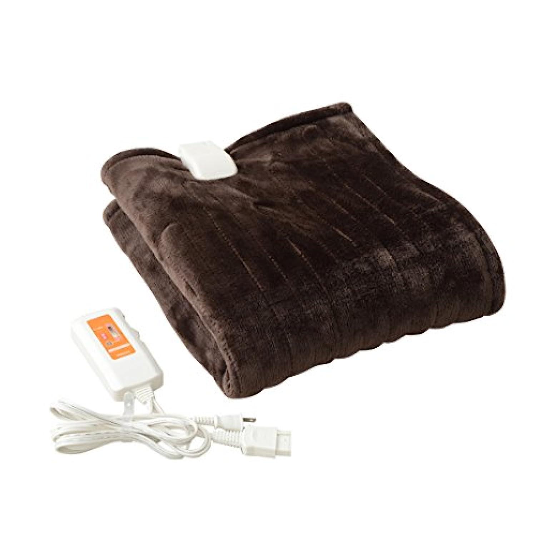 山善 ふわふわもこもこ 電気ひざ掛け毛布(120×60cm) 表面フランネル 裏面プードルタッチ仕上げ ブラウン YHK-43P(T)
