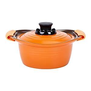 アイリスオーヤマ 両手鍋 無加水鍋 20cm 深型 IH対応 オレンジ MKS-P20