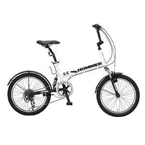HUMMER(ハマー) 折りたたみ自転車  20インチ FDB206 シマノ6段変速 [Wサスペンション/前後フェンダー/Vブレーキ/ボトルゲージ/リフレクター標準装備] ホワイト