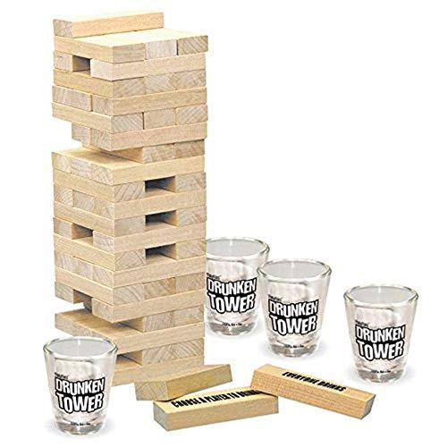 ほろ酔いタワー飲酒ゲームセット4ショットメガネと60木製ピー...