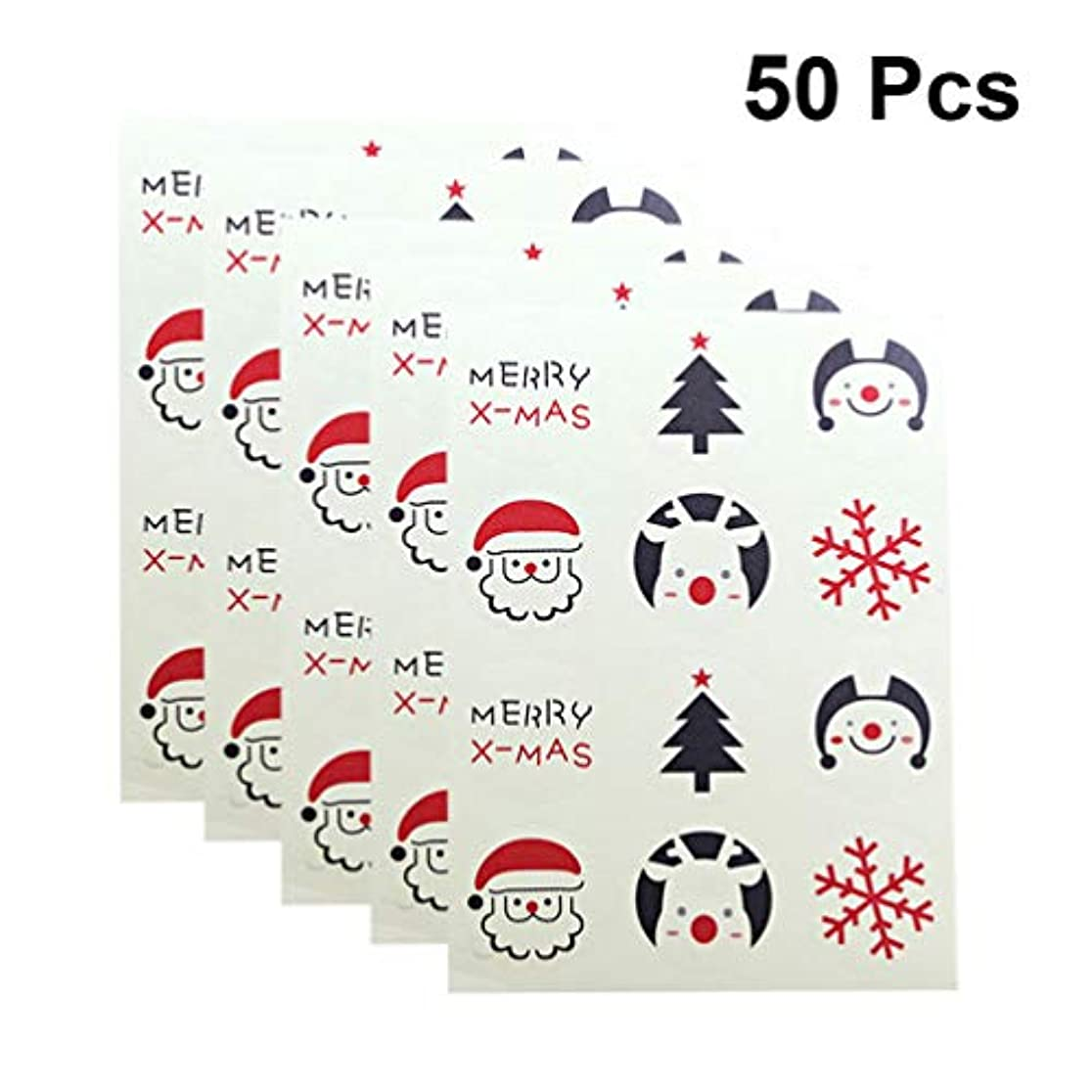 月曜日造船ランタンHealifty クリスマスシールステッカーサンタ装飾シールステッカー粘着封筒シールラベルデカール用装飾50枚