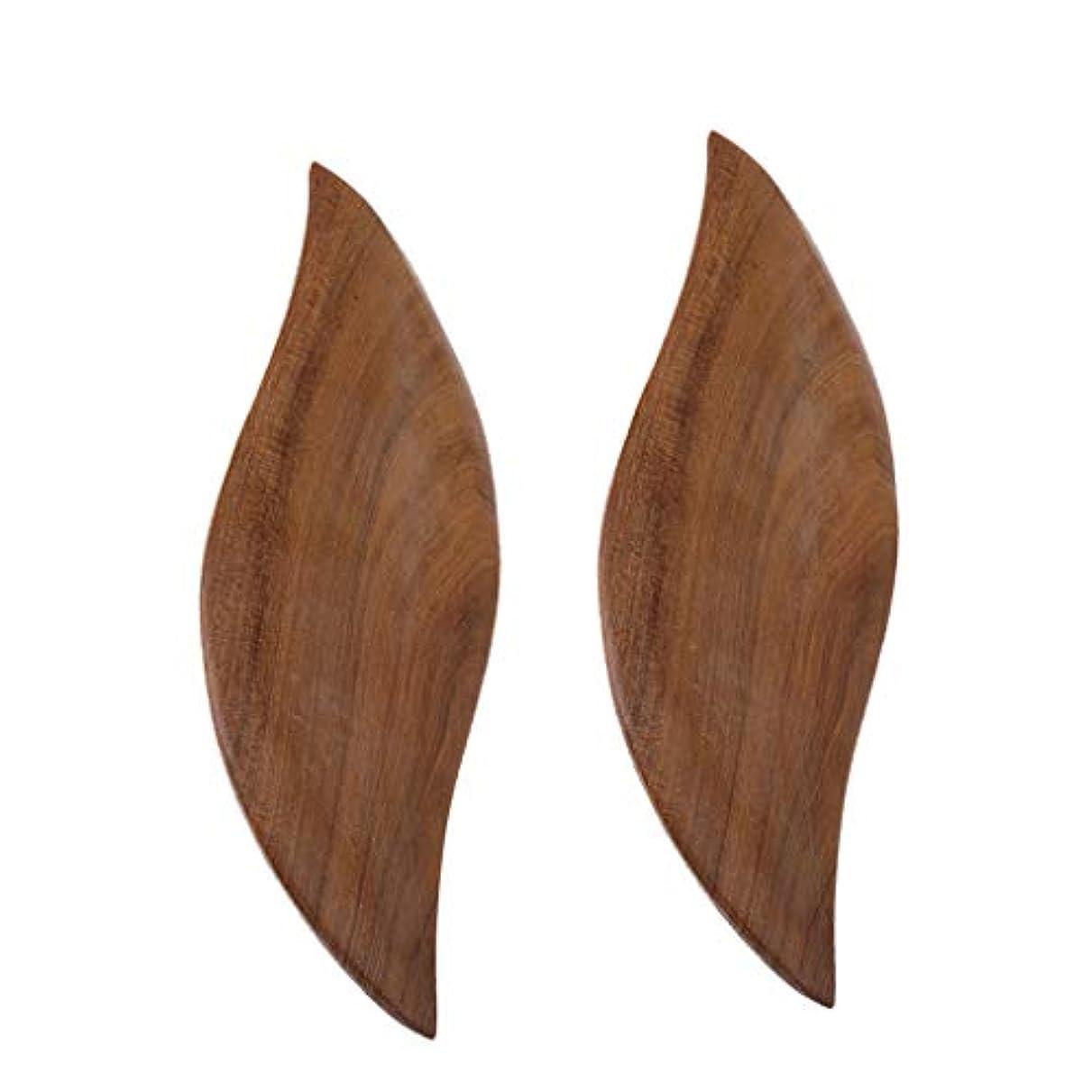かどうか悪性の悪性のD DOLITY 2枚 かっさプレート 木製 ボード ボディーケア 葉の形 便利