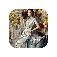 13色プラスサイズ4Xlチャイナドレスチャイナドレスロング女性シルク中国風チャイナドレスドレスエレガントな伝統的な服、5513-青チャイナドレス、M
