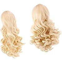 ノーブランド品 2個入り お買い得  ウィッグ  巻き 髪  カーリーヘア  ロング髪  かつら  18インチ アメリカガール人形適用  6色選べる  - カラー4