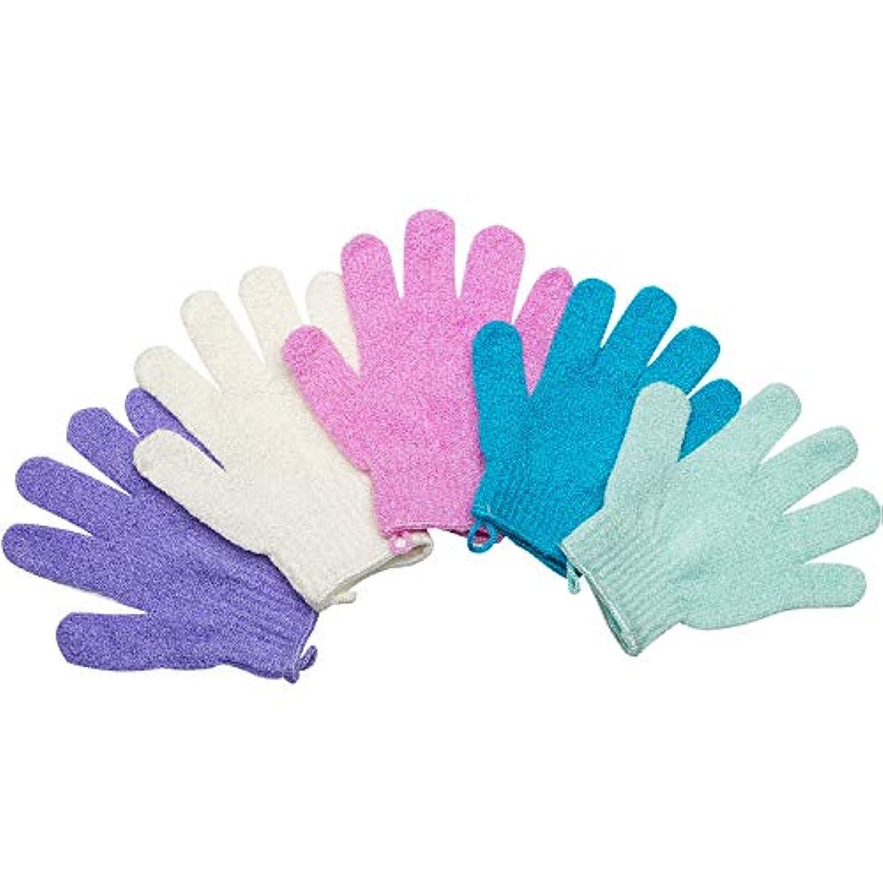 メッシュタッチ干ばつ5ペアセットお風呂用手袋 入浴用品 垢すり用グローブ 抗菌加工 角質除去 泡立ち 男女兼用 便利なループ付け