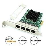 Ubit RJ45 x 4ギガビットLAN、ギガビットイーサネットPCI Express PCI-Eネットワークコントローラカード、10/100 / 1000mbps、デュアルポートPCIEサーバネットワークインタフェースカード、デスクトップPC用LANアダプタコンバータ(8102_T4)