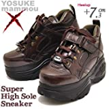YOSUKE ヨースケ mommou コラボ 厚底 スニーカー プラットフォーム 厚底ブーツ スケッチャーズタイプ 厚底シューズ 24.5cm ダークブラウン