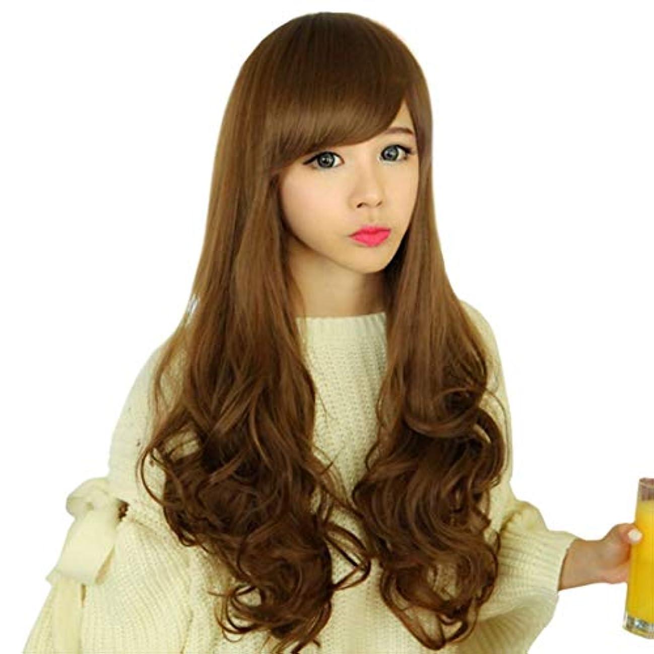 困った証言アーティファクトKerwinner 女性の女の子を探している天然前髪付きの長い波状の合成かつら