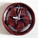 アジアン・バリ木彫り・時計:ハイビスカスの丸くて手頃サイズなかわいい時計新登場!