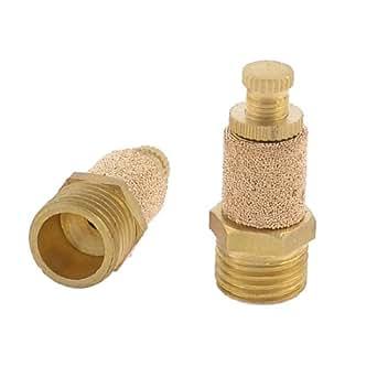 uxcell 空気圧マフラー 空圧マフラー エキゾーストサイレンサー 焼結 ゴールドトーン 12.5mm 2個入り