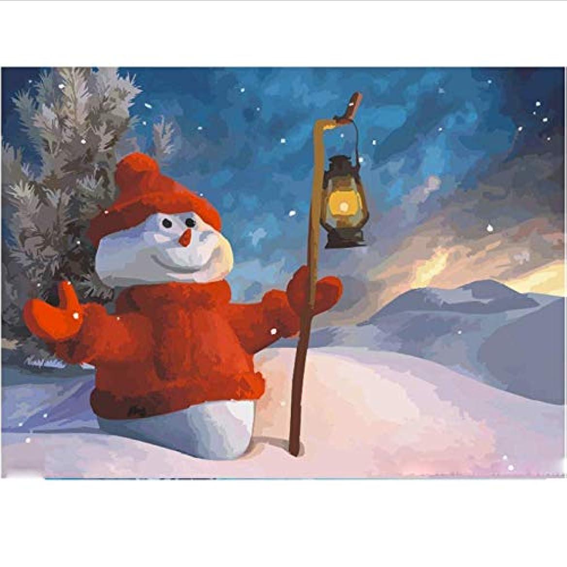 進捗サルベージブロンズDIY 数による絵画 クリスマス雪だるまデジタル油絵キットアクリルペイント手塗り油絵家の装飾アートギフト-40*50cm