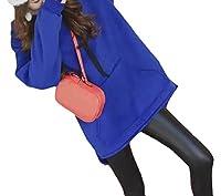 Candiyer 女性フードルース固体ポケット厚ベルベット半ばロングスウェットシャツトップ Blue M