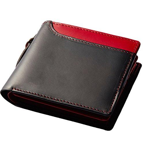 Healthknit (ヘルスニット) 財布 二つ折り財布 大容量 ボンテッドレザー メンズ