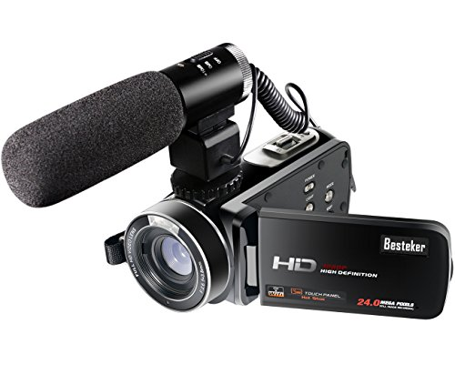 Besteker ポータブルビデオカメラ 2400万画素 HD 1080P 30FPS(フレーム/秒)ワイヤレスカメラ 無線カメラ WIFI搭載 ホットシュー機能 3.0 インチTFT-LCDタッチスクリーン16倍デジタルズーム 270度回転 SDカード(最大64GB) リモコン・カメラ用外部マイク付き 日本語説明書&保証書付き(HDV-Z20)